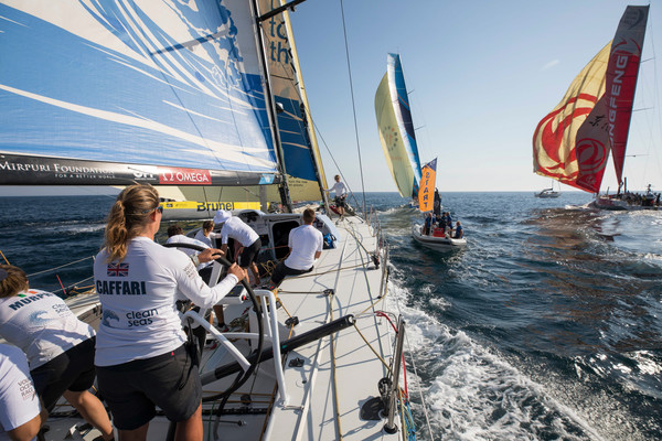Leg Zero, Prologue start on-board Turn the Tide on Plastic. The fleet departs Lisbon on day 1 of the Prologue. Photo by Sam Greenfield/Volvo Ocean Race. 08 October, 2017