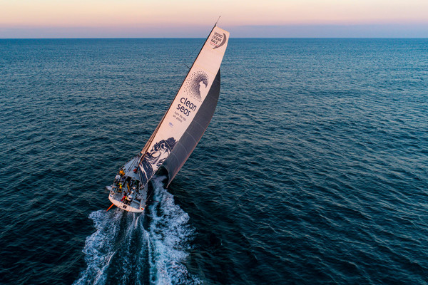 Leg Zero,Plymouth - St. Malo: Drone shots of the start on board Turn the Tide on Plastic. Photo by Jeremie Lecaudey. 10 August,2017
